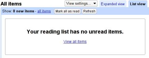 Google Reader vacío