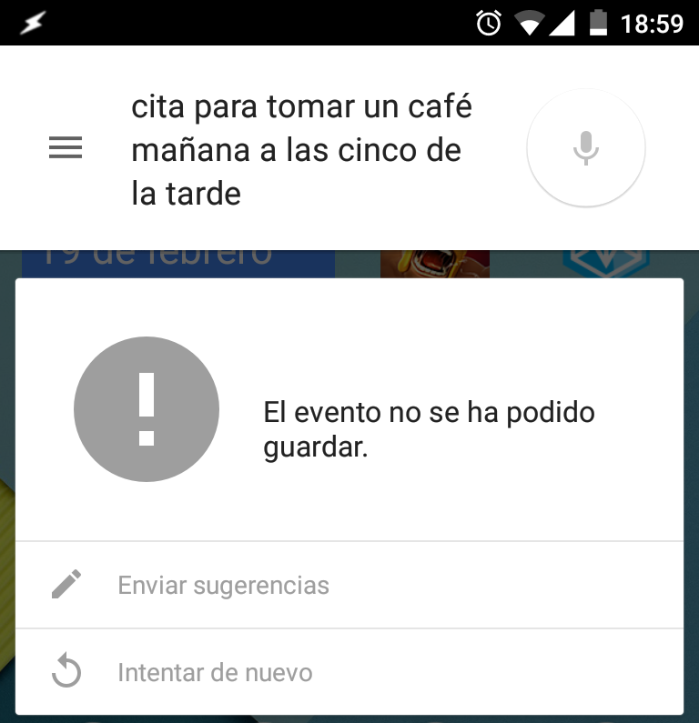 Error Google Now